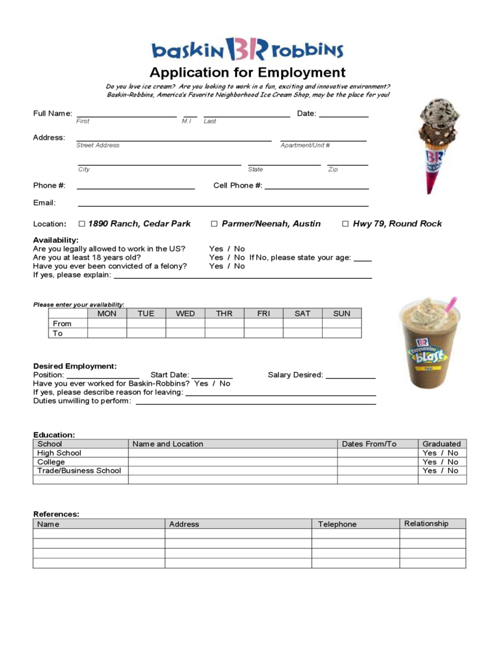 baskin robbins application for employment form free download