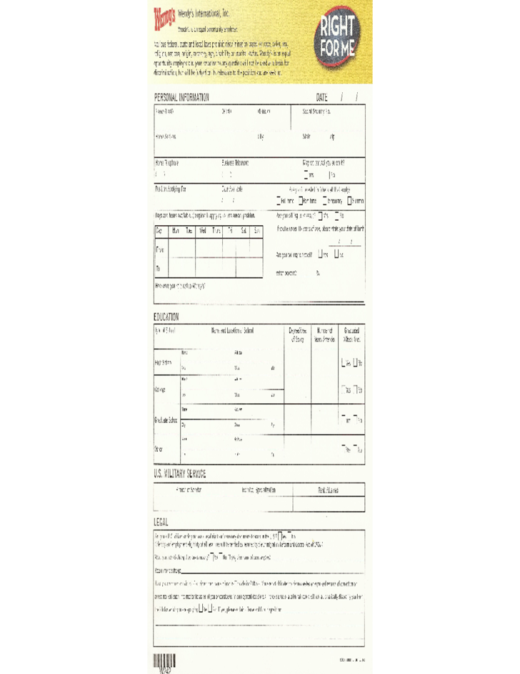 wendys-job-application-form-l1 Job Application Form Free Printable on