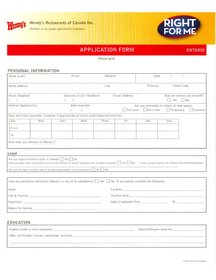 Fast Food Job Application Pdf