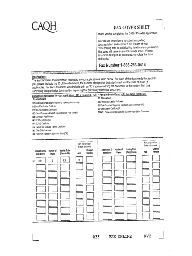 CAQH Fax Cover Sheet - Arizona Department of Health Services