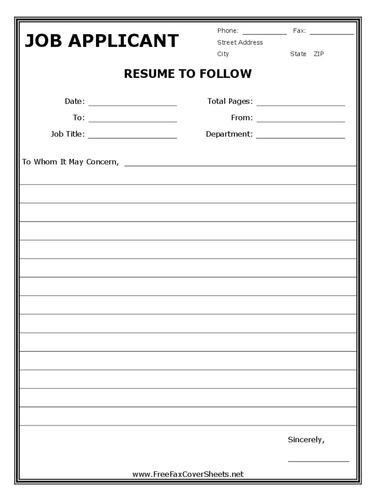 Sample Resume Fax Cover Sheet