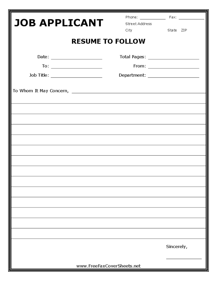 Sample fax resume cover sheets