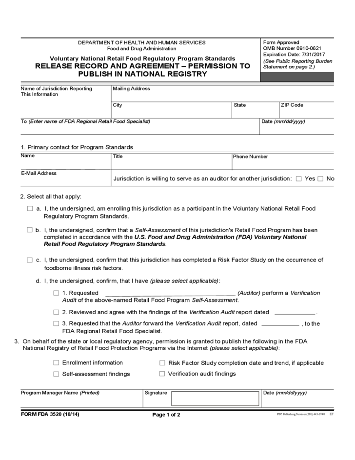 Form Fda 3520 Release Record And Agreement Permission To Publish