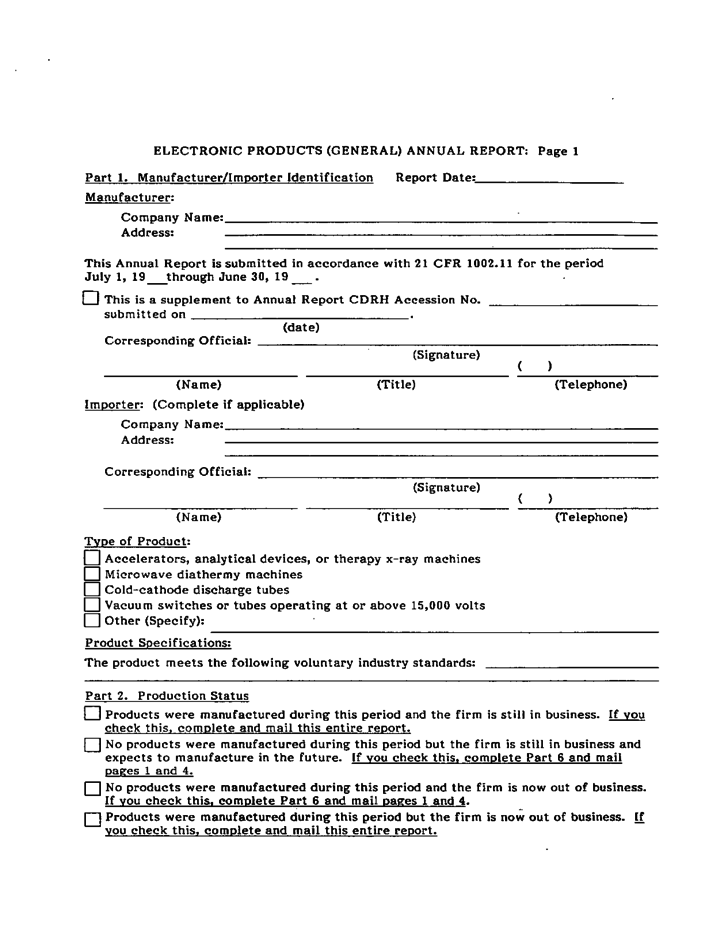 Form Fda 3628 General Annual Report Medical Analytical