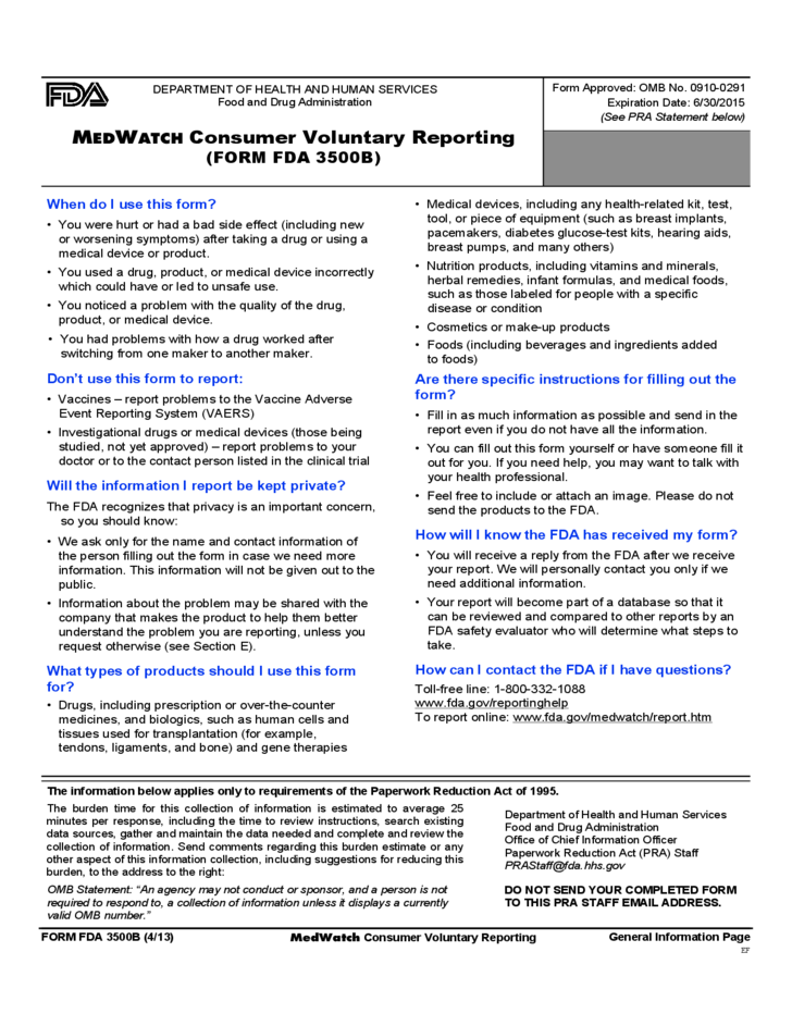 Form FDA 3500B - MEDWATCH Consumer Voluntary Reporting Free Download