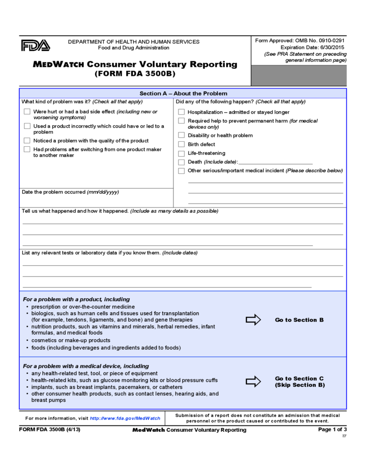 2 Form FDA 3500B   MEDWATCH Consumer Voluntary Reporting
