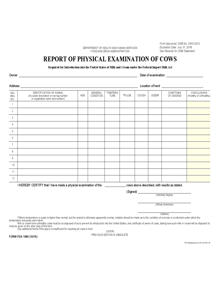 Form Fda 1995 Report Of Physical Examination Of Cows Free Download