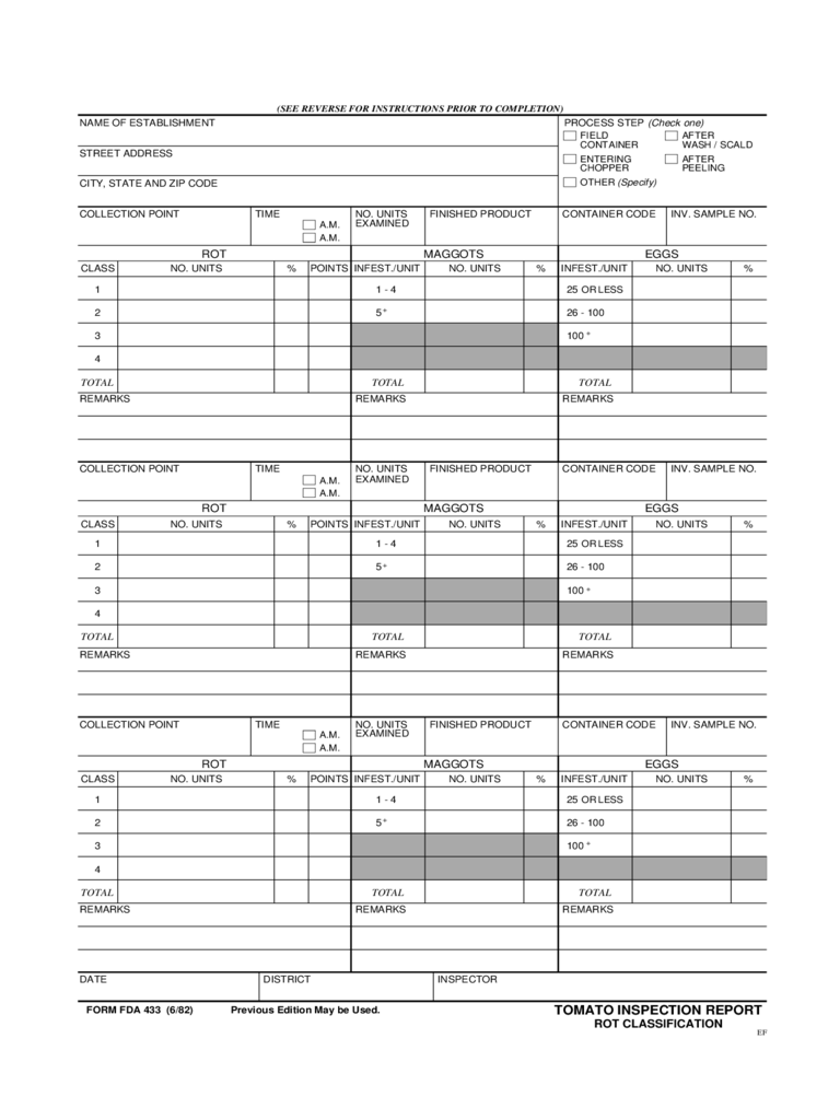 Form FDA 0433 - Tomato Inspection Report Free Download