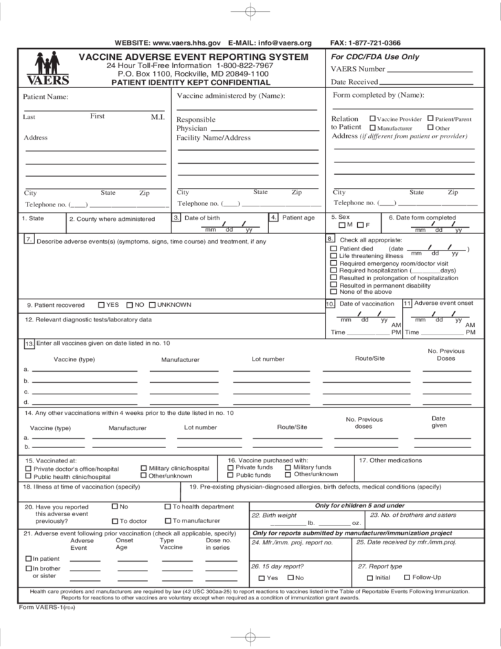 Form FDA VAERS-1 - Vaccine Adverse Event Reporting System Free ...