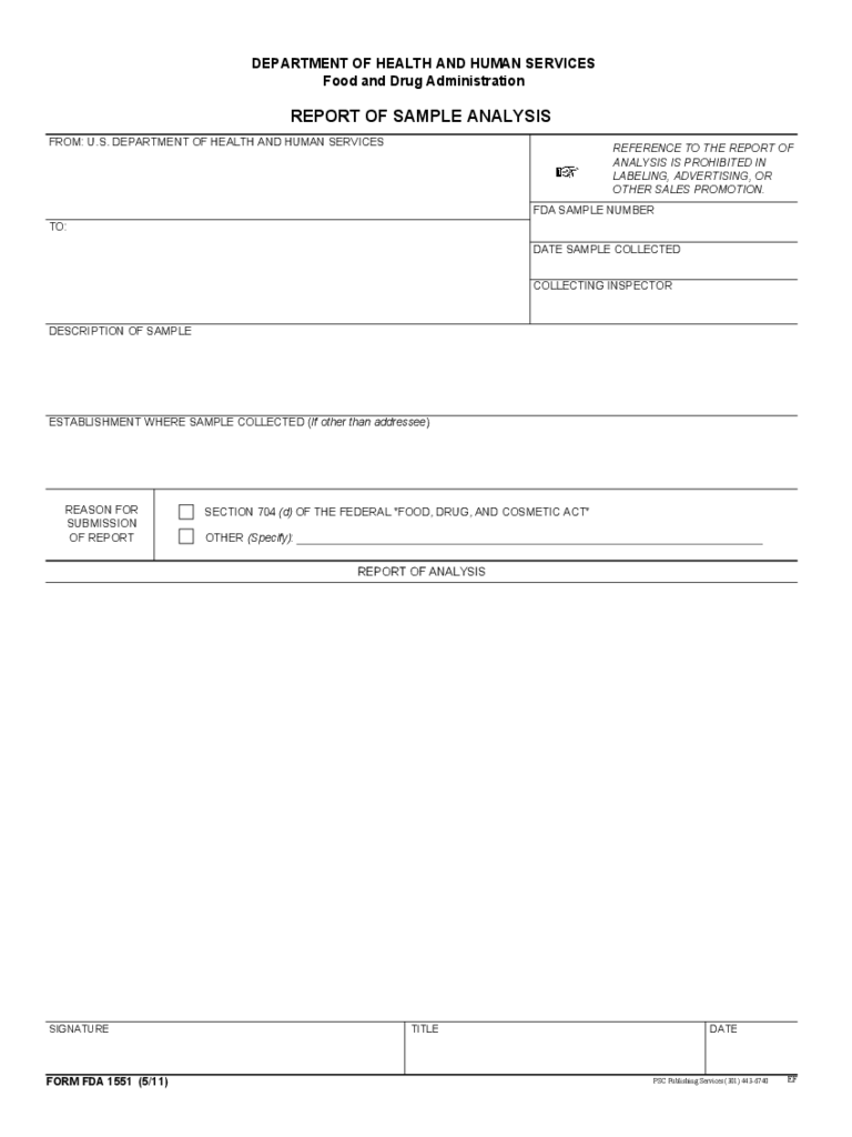 Form FDA 1551 - Report of Sample Analysis Free Download