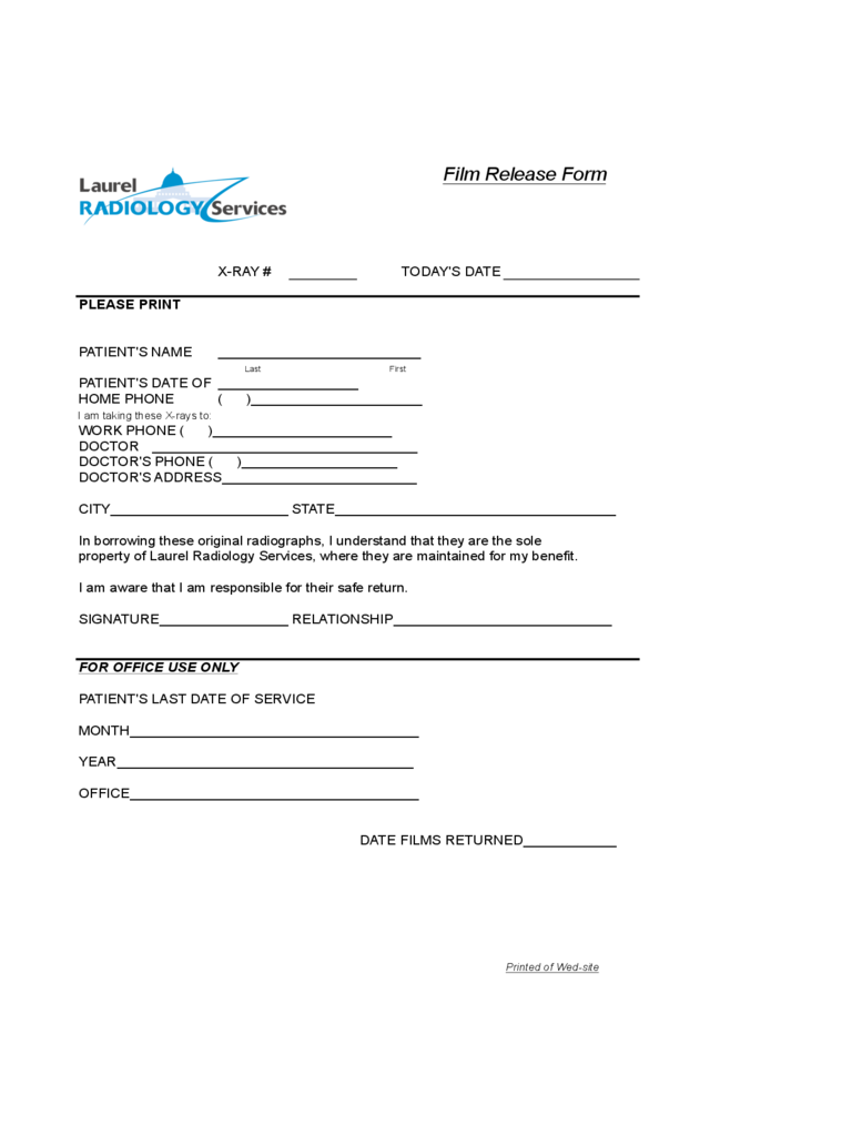 Simple Film Release Form
