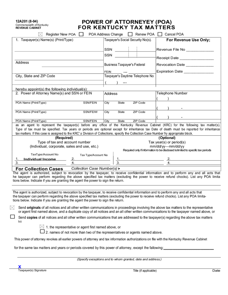 graphic relating to Free Printable Power of Attorney Form Kentucky named Electricity of Lawyer for Tax Factors - Kentucky Free of charge Obtain