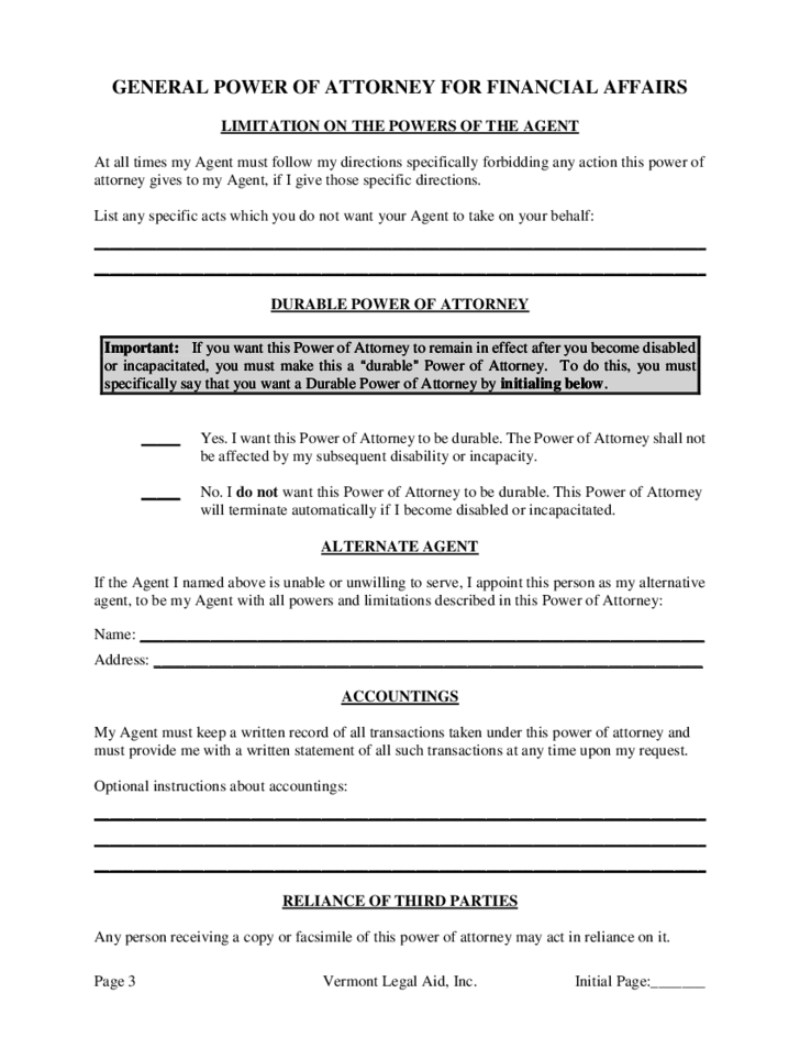 General Power Of Attorney For Financial Affairs Vermont Free Download