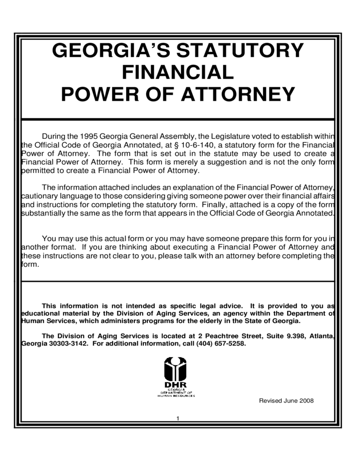 power of attorney form ga  Statutory Financial Power of Attorney - Georgia Free Download