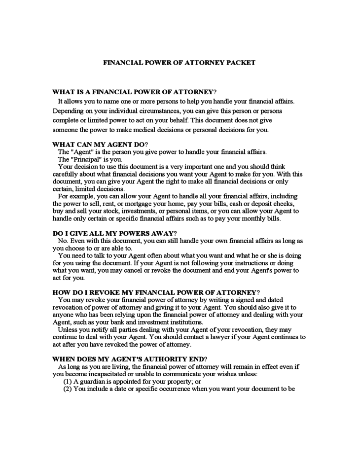 Financial Power Of Attorney Form Georgia Free Download