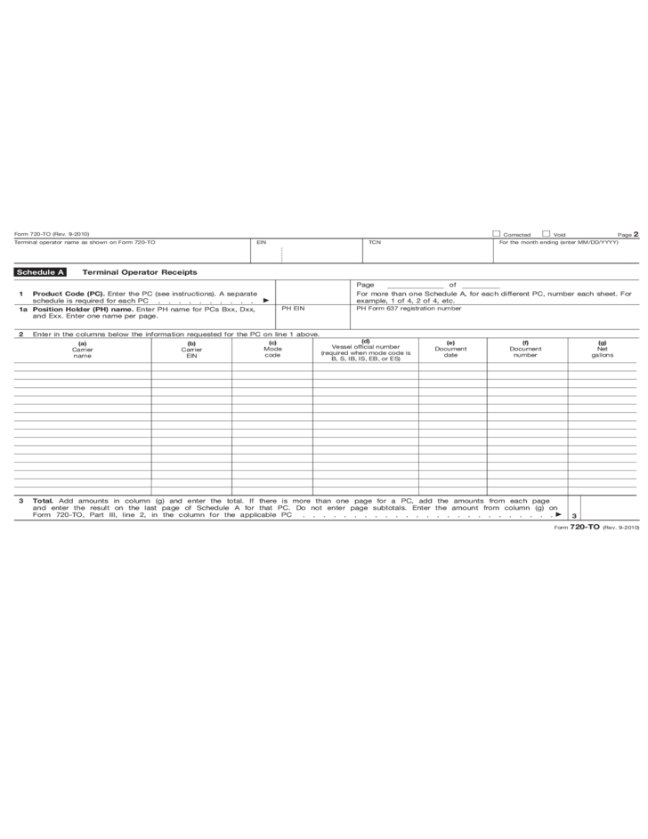 Form 720 To Terminal Operator Report 2010 Free Download