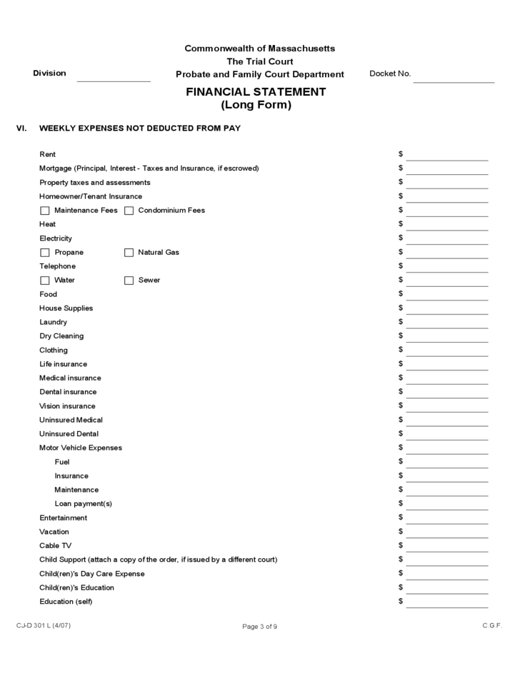 Financial Statement (Long Form) - Massachusetts Free Download