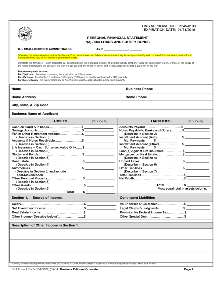 Personal financial statement form free download for Personal surety template