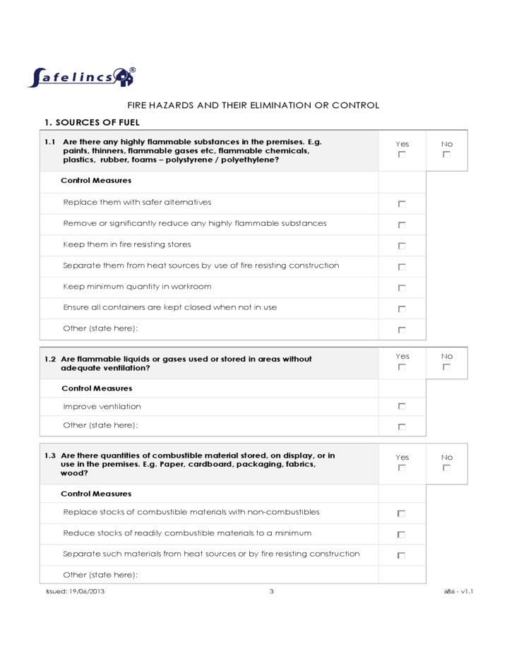 fire risk assessment template free download
