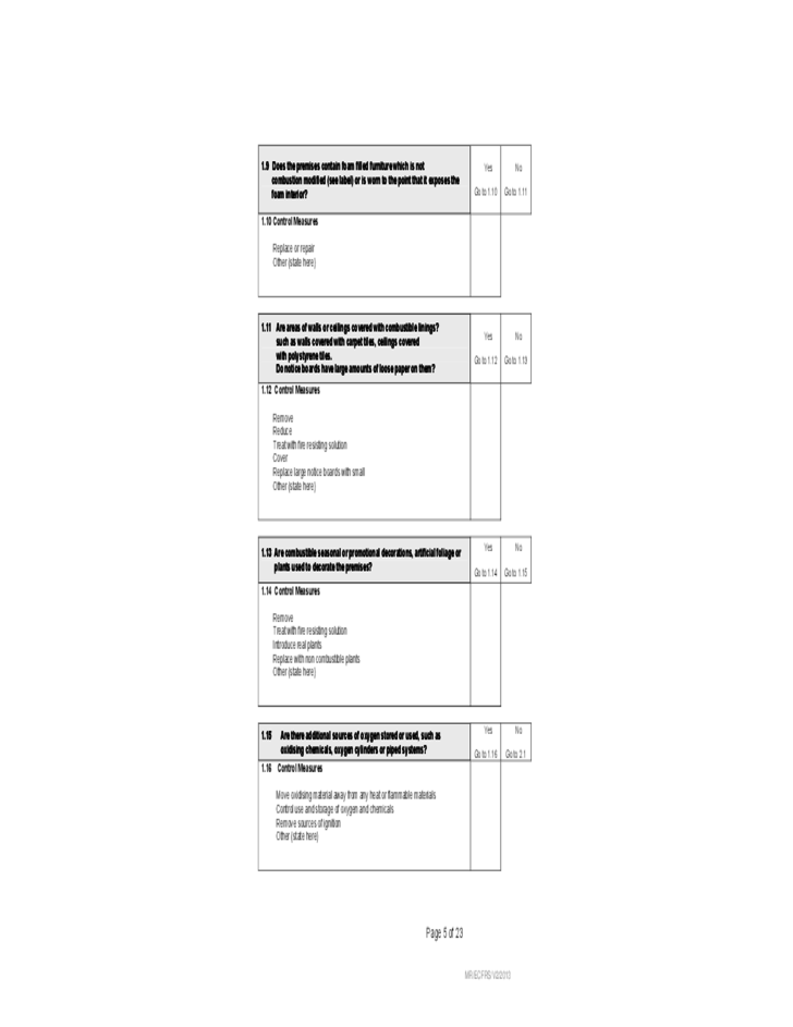 Fire Safety Risk Assessment Form Free Download