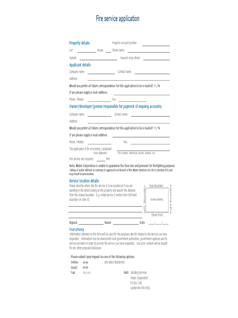 Fire service application sample form