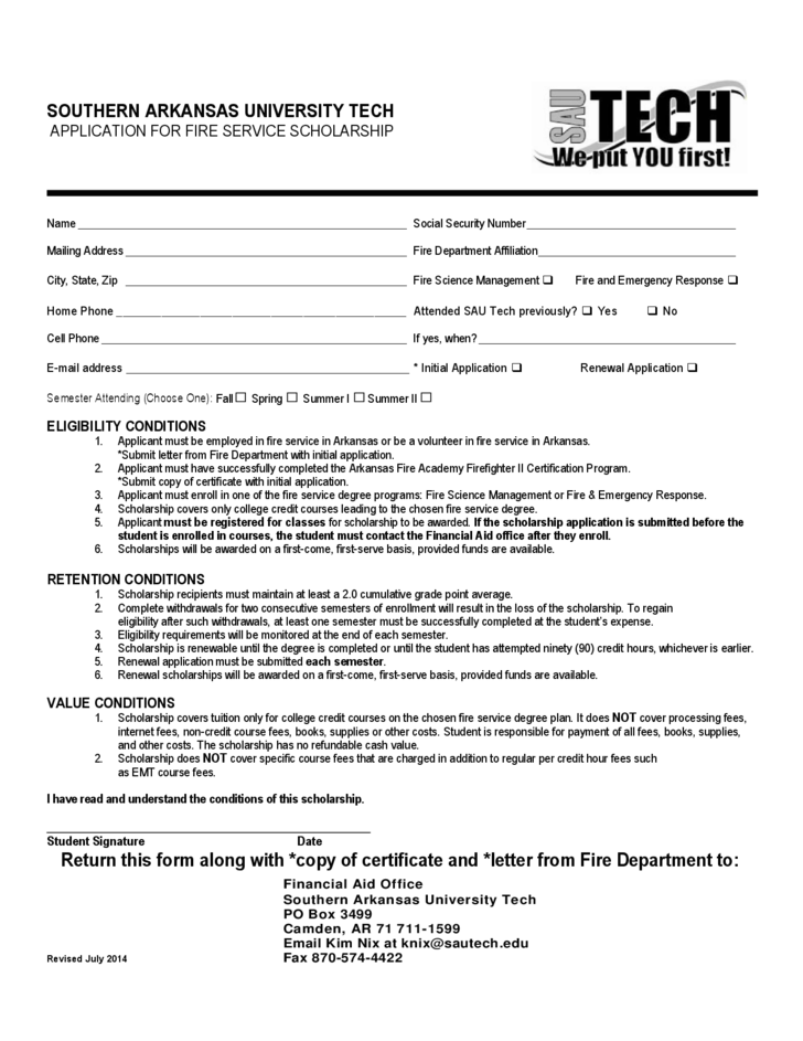 Fire Service Application Form Arkansas Free Download – Fire Service Application Form