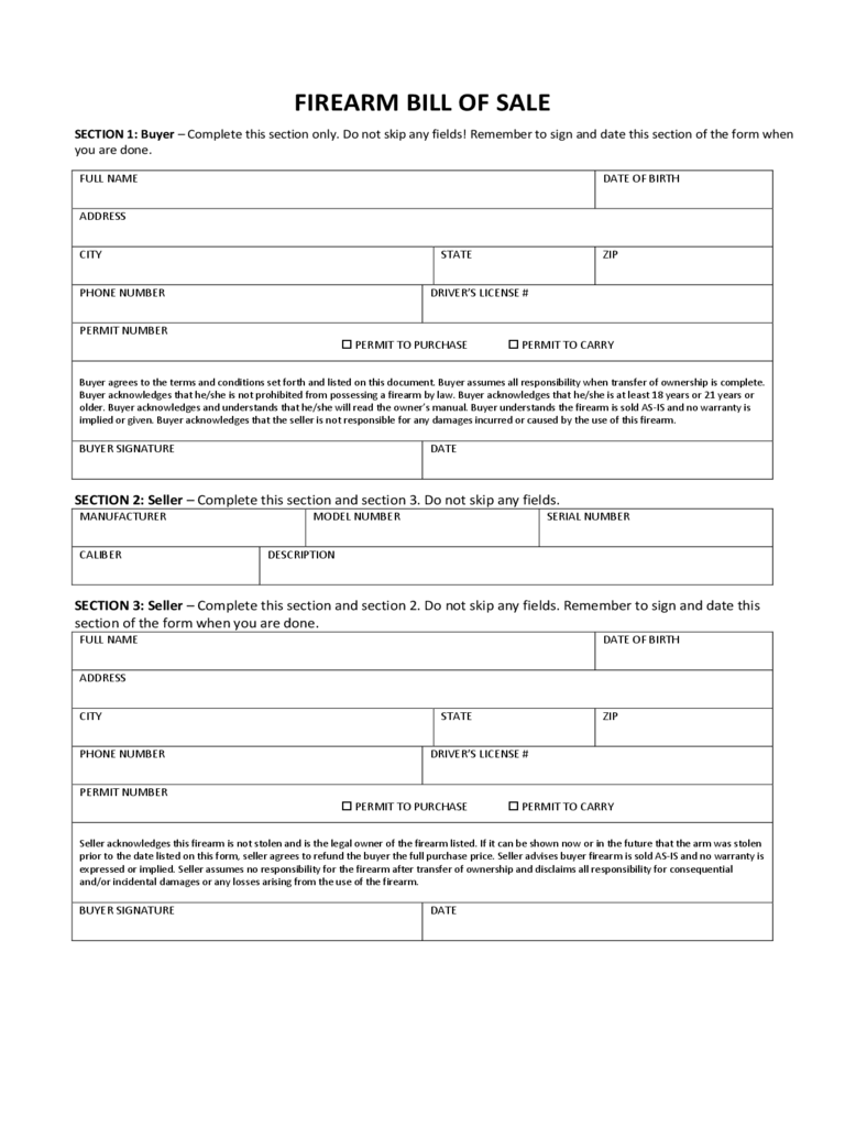Firearm Bill of Sale Form 7 Free Templates in PDF Word Excel – Gun Bill of Sale