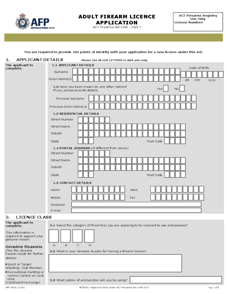 Firearms Licence Application Form - Australia Free Download