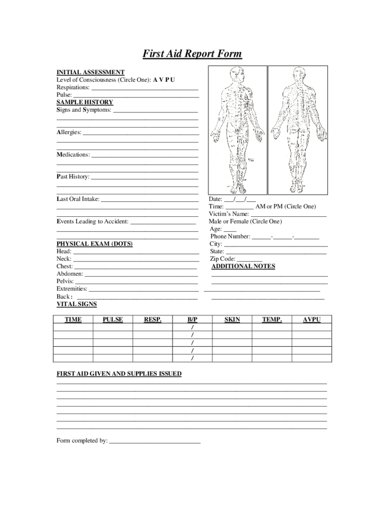Captivating First Aid Report Sample Form  Injury Incident Report Form Template