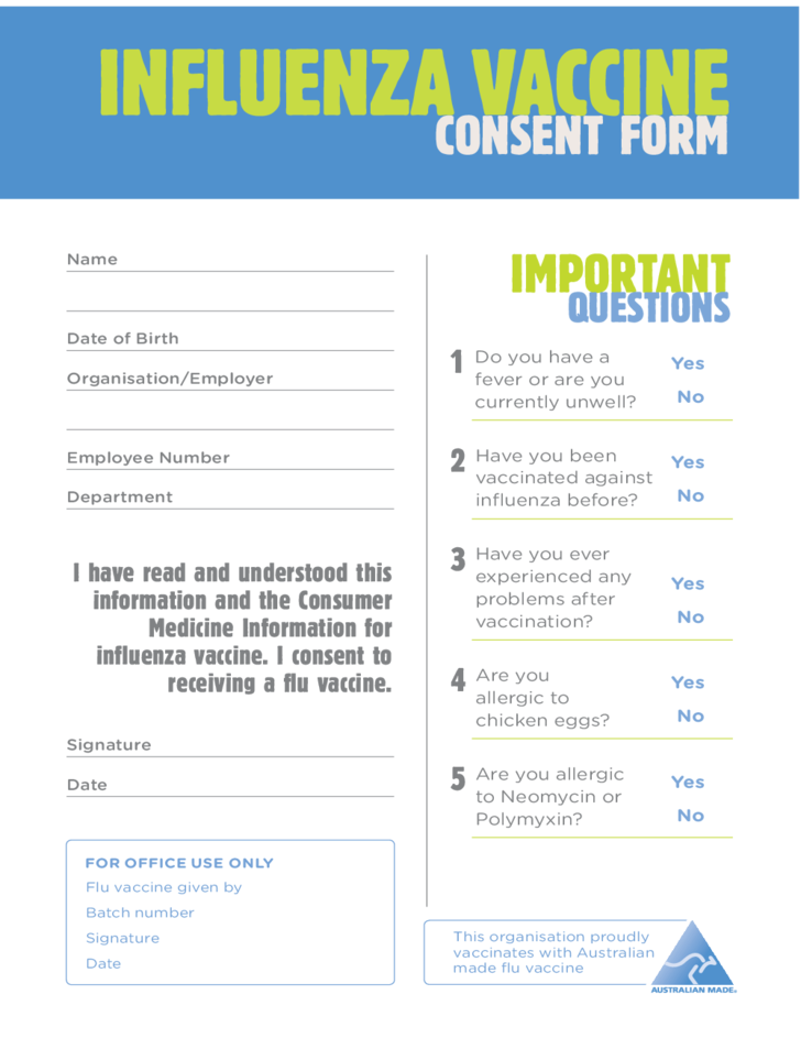 Influenza vaccine consent form free download for Vaccination consent form template