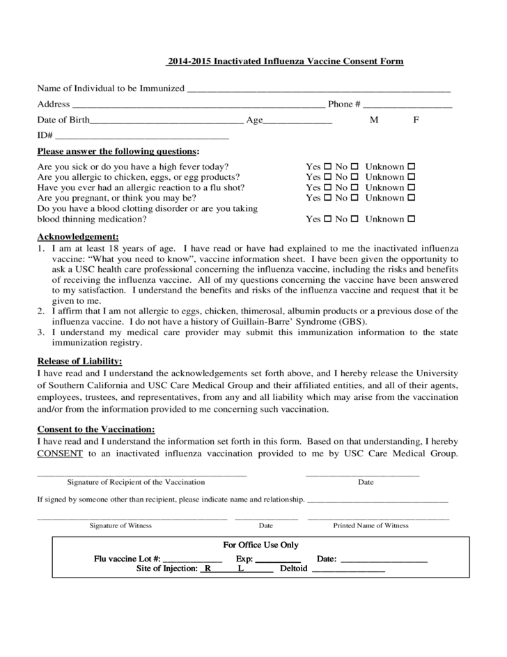 20142015 Inactivated Influenza Vaccine Consent Form Free Download – Vaccine Consent Form