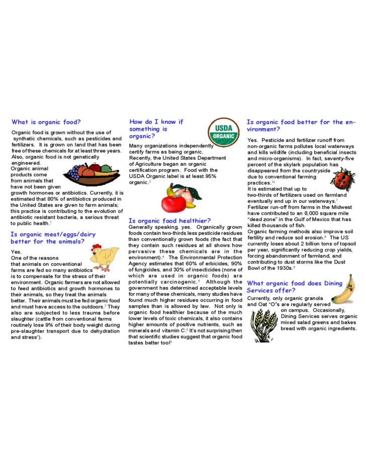 Food Brochure Template for FAQs