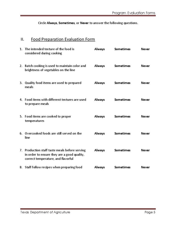 Detailed Program Evaluation Forms Free Download
