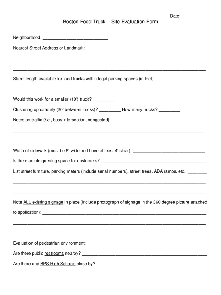 Food Evaluation Form - Boston
