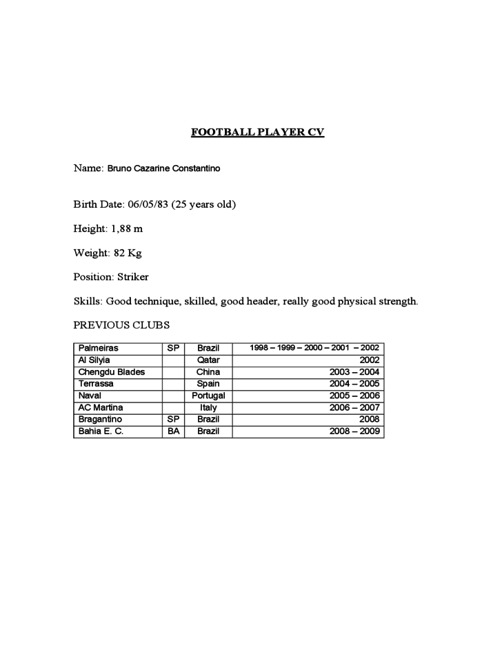 football player cv free download