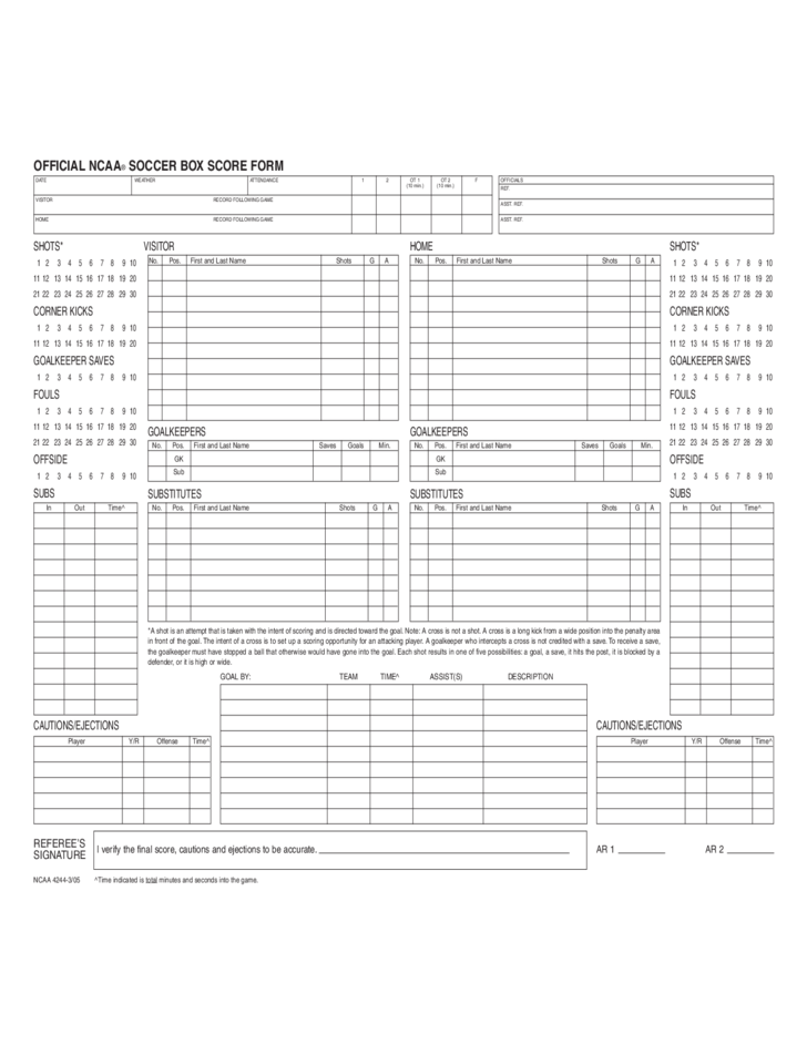 Football Score Sheet Example Free Download