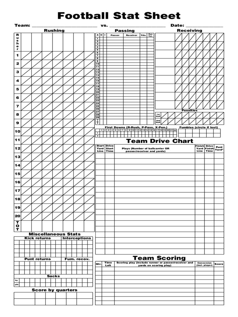 ... Stat Sheet Template By Football Score Sheet 3 Free Templates In Pdf  Word ...