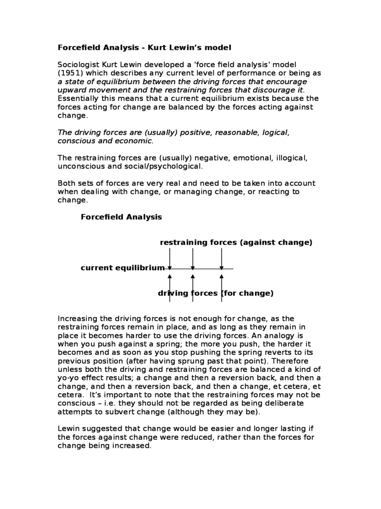 Force Field Analysis Template 12 Free Templates in PDF Word – Force Field Analysis Template