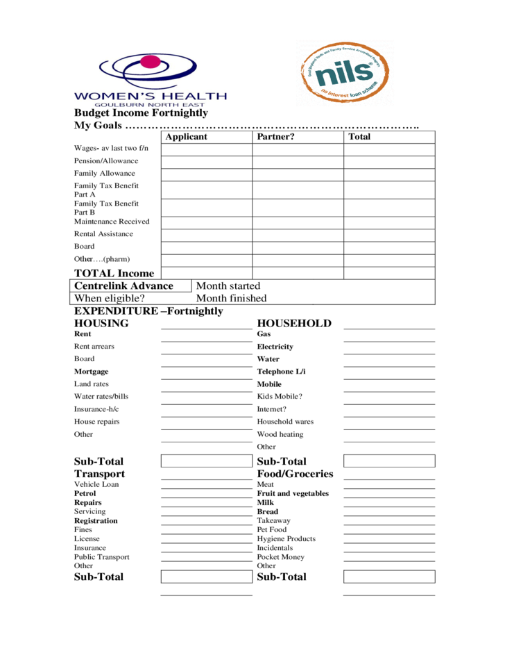 budget income fortnightly form free download
