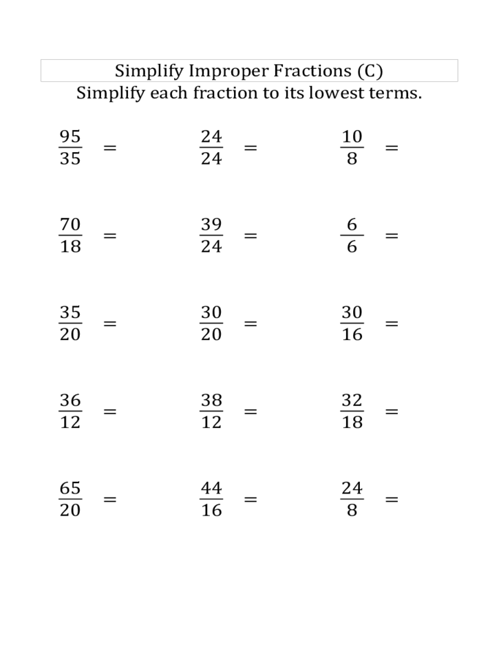 Improper Fractions Worksheet Davezan – Fraction Reduction Worksheet