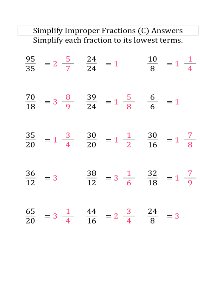 math worksheet : simplify improper fractions easier  lp free download : Reducing Improper Fractions Worksheet