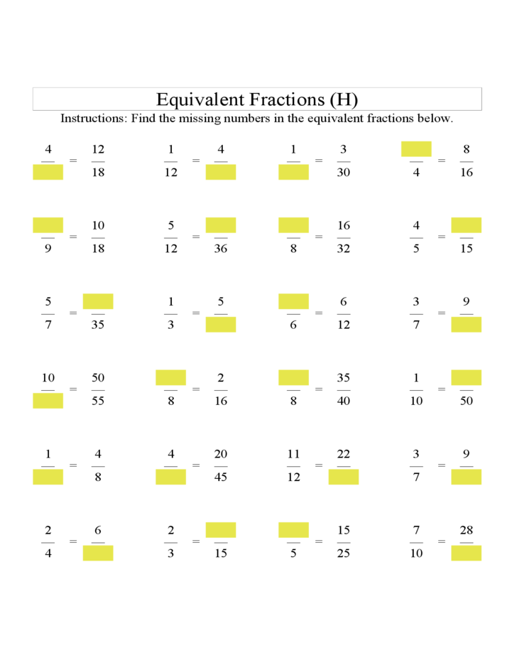 math worksheet : equivalent fractions with blanks formerly find the missing number  : Equivalent Fractions Worksheet Free
