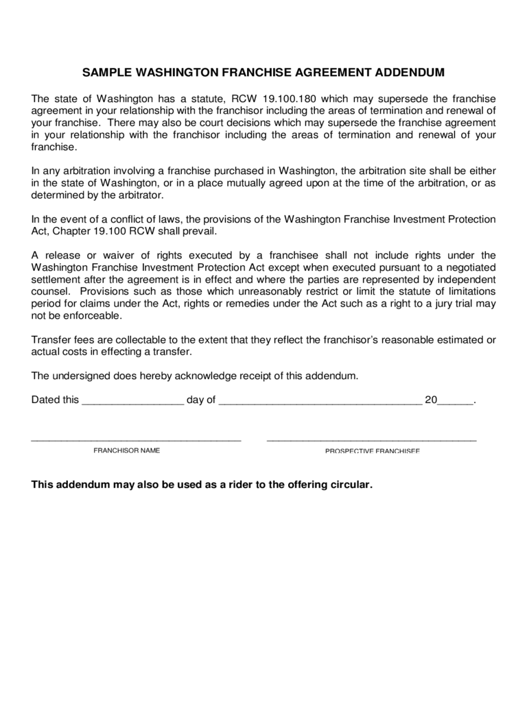 Franchise Agreement Template 6 Free Templates In Pdf