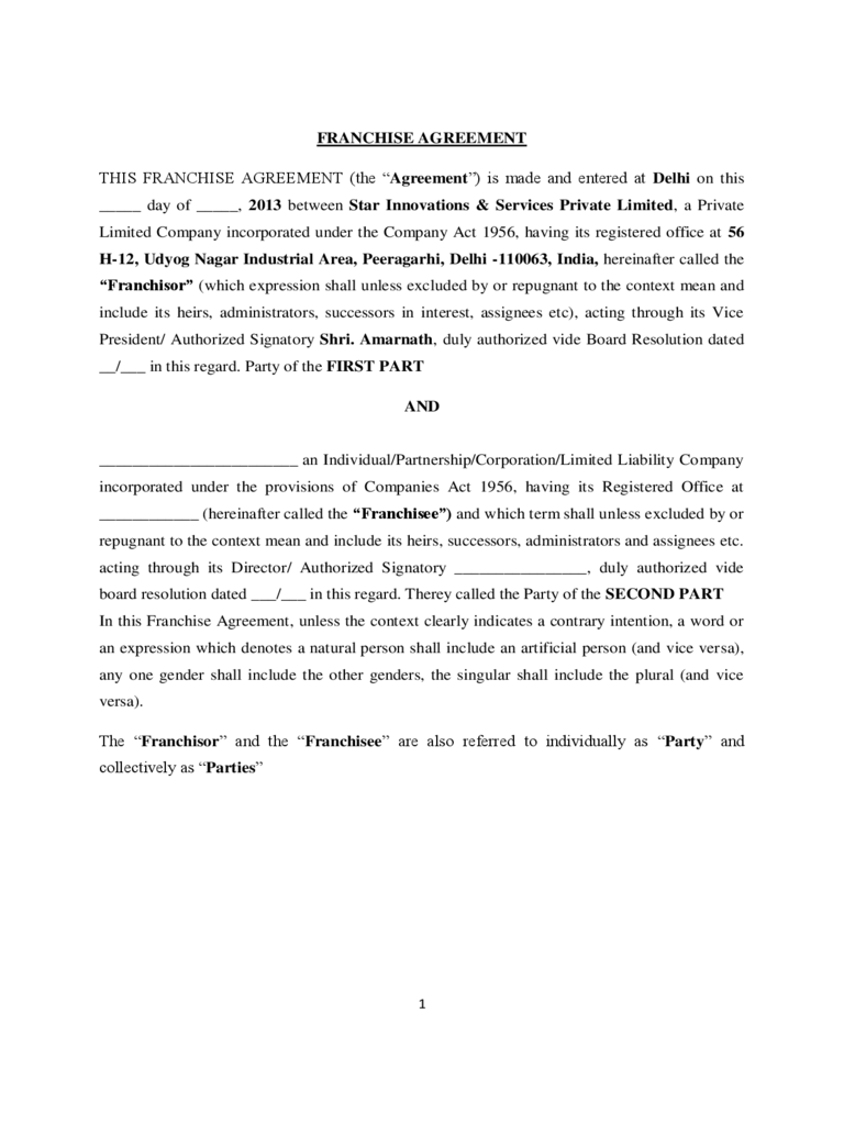 Franchise Agreement Template 6 Free Templates in PDF Word – Franchise Agreement Template