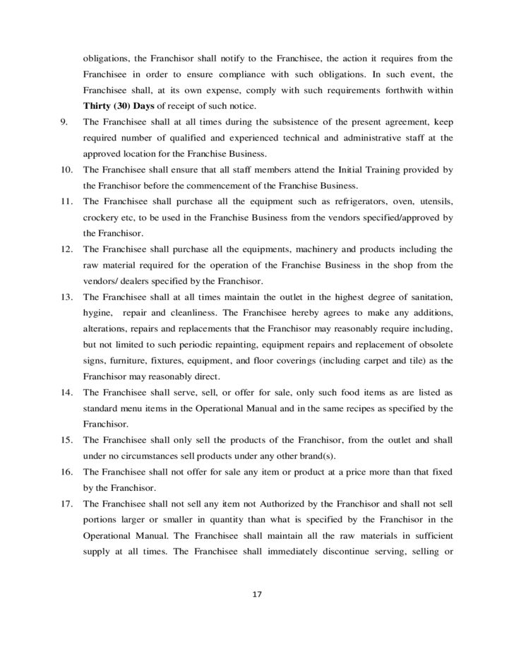 Franchise Agreement Sample Template Free Download