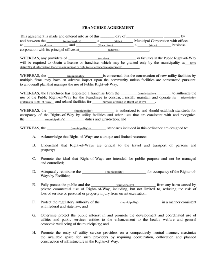 Franchise Contract Sample Pdf Kubreforic
