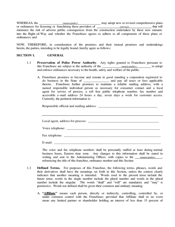 sample of franchise agreement free download
