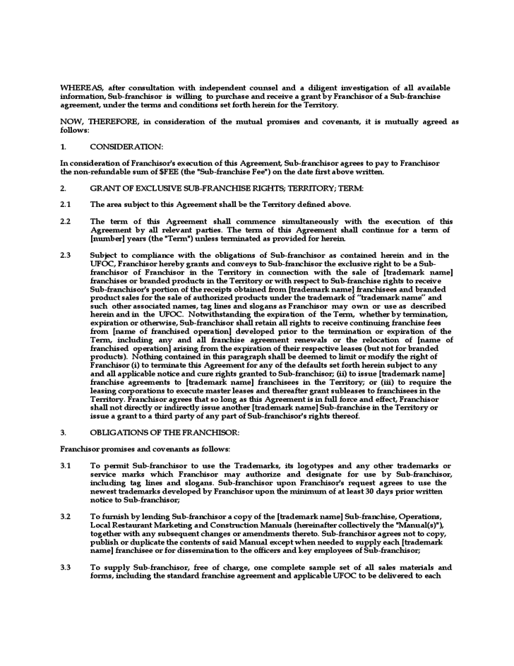 Exclusive Franchise Agreement Images Agreement Letter Format