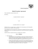 Model Franchise Agreement - Ontario Free Download