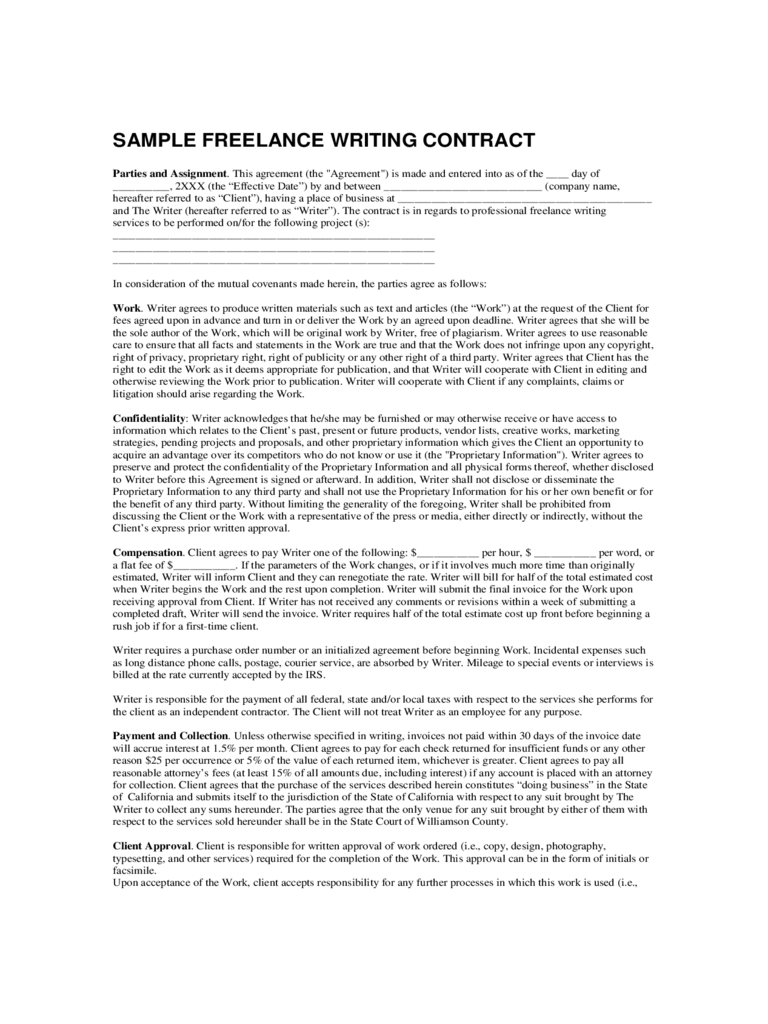 Sample Freelance Writing Contract